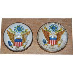 Antique glass eagle rosettes