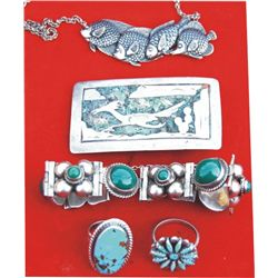 5 pieces of silver and turquoise jewelry