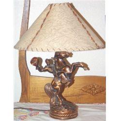 Bronze cowboy lamp