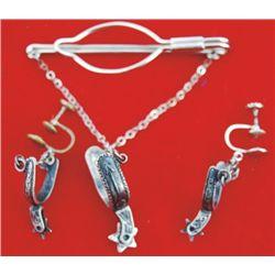 very nice silver spur earings & tie slide