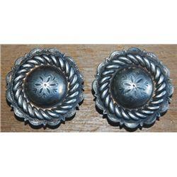 "Keyston Bros.  1 1/2"" silver rope edge conchos"