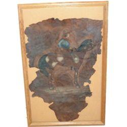 1800's unique  leather art piece