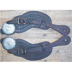 Maker marked tools spur straps with silver conchos
