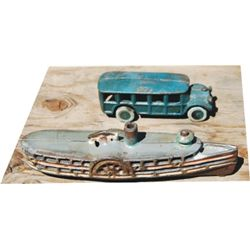 antique cast iron toys, truck and boat
