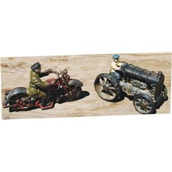 antique cast iron toys, tractor and motorcycle