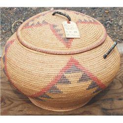 """Large willow basket, 18"""" diameter"""