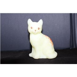 FENTON CAT SOLID GLASS - HANDPAINTED - ARTIST SIGNED