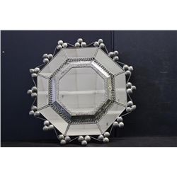 "UNUSUAL PIE TIN MIRROR IN EXC. COND. 19"" X 19"""
