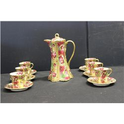 ORIENTAL CHOCOLATE SET - SERVICE FOR 6 - HAND PAINTED
