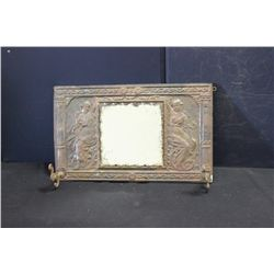 "DECORATED HANGING MIRROR W/ HOOKS - NEEDS CLEANING - 20"" X 12"""