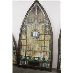 "PICKUP ONLY - LEADED WINDOW FROM CHURCH IN FONDA - GREAT COLORS & CONDITION - 98"" X 51"""