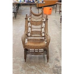 GREAT WICKER PLATFORM ROCKER MADE BY A.H. ORDWAY