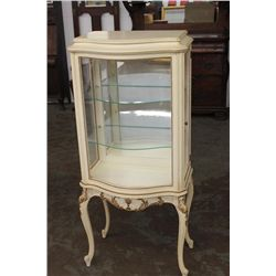 FRENCH 2 SHELF CURIO W/ BOWED WAVE GLASS