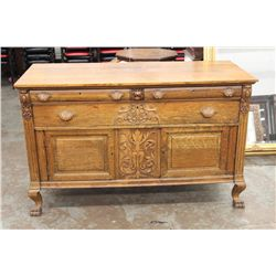 GOLDEN OAK SIDEBOARD - ORNATE SIGNED HORNER