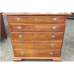 "41"" X 40"" X 19.5"" WONDERFUL CHERRY COUNTRY CHEST - APPROX. 1790 W/ UNUSUAL GRADUATING DRAWERS - SMAL"