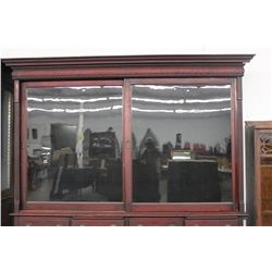 TERRIFIC WALNUT STORE DISPLAY W/ 4 SHELVES - SLIDING DOORS - RAISED PANEL - FRONT PULL OUT WRITING S