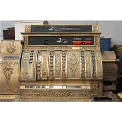MASSIVE NATION BRASS CASH REGISTER MOUNTED ON ORIG. DRAWERED BASE - NEEDS KEY & MINOR WORK