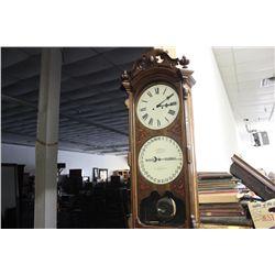 "MAGNIFICENT ITHACA CALENDAR CLOCK - 58"" TALL - WORKS PERFECT - A TRUE TRASURE - MINT"