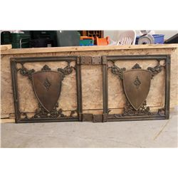 "GREAT PAIR OF BRONZE HEAVY GATES - EACH GATE WEIGHS 41LBS. - 27"" X 26"" - HINGES 4"" EACH - TOTAL LENG"