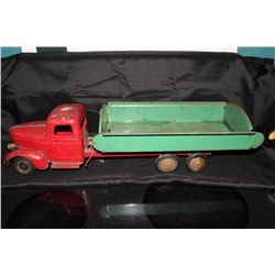 "EARLY PRESSED TIN DUMP TRUCK - 21"" LONG"