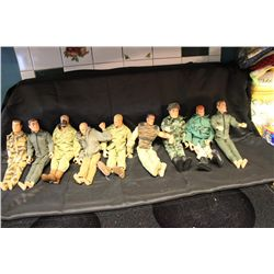 GREAT LOT OF 8 G.I. JOES W/ CASE AND CONTENTS - SUPER LOT