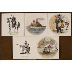 5 1862 CIVIL WAR CERAMIC TILES- ROBERT E LEE  DRUMMER