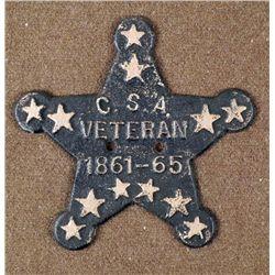 CIVIL WAR C.S.A. VETERANS IRON STAR PLAQUE