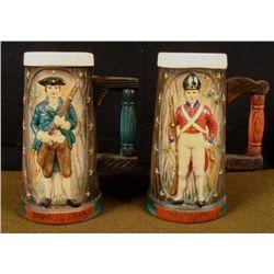 REDCOAT AND MINUTEMAN 1776 MAT PAINTED CERAMIC MUGS