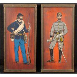 2 VINTAGE CIVIL WAR PAINTINGS UNION CONFEDERATE OFFICER