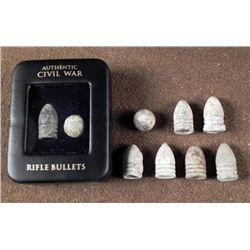 ORIGINAL CIVIL WAR BULLETS - 2 RIFLE AND 7 INDIVIDUAL