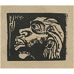 """Pechstein """"Maske"""" Original Woodcut"""