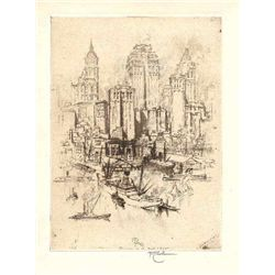 "Pennell ""My New York"" Signed Original Etching"
