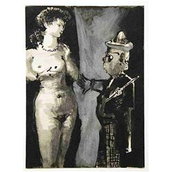 Picasso Lithograph (Woman And Clown)