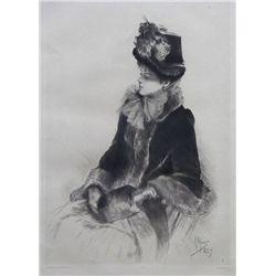 Rodolphe Piguet Original Drypoint (Portrait De Femme)