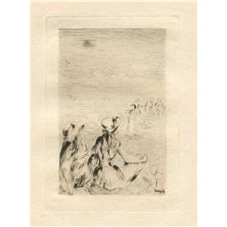 """Renoir """"Sur La Plage A Berneval"""" Original Etching"""