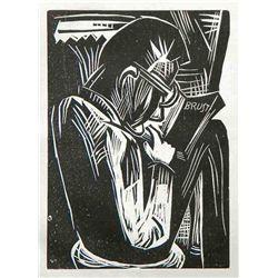 Karl Schmidt-Rottluff Original Woodcut  Lesender Mann
