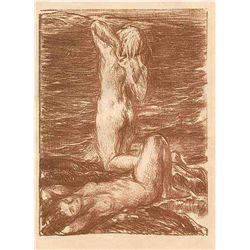"""Charles Shannon Original Etching """"La Marée Montante"""""""