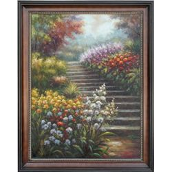 """GARDEN STAIRS"" - ORIGINAL OIL ON CANVAS"