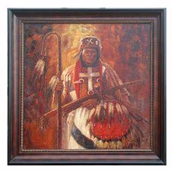 """INDIAN WARRIOR"" - ORIGINAL OIL ON CANVAS"