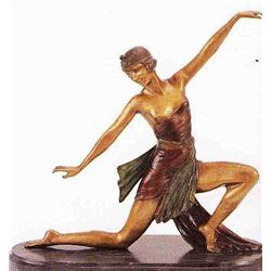 """Kneeling Deco Dancer"" Bronze Sculpture - Chiparus"