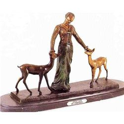 """Deer Lady"" Bronze Sculpture - Chiparus"