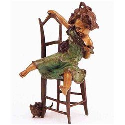 """Girl On Chair"" Bronze Sculpture - Clara"