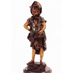 Harvest Time Girl  Bronze Sculpture - Morie