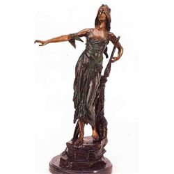 """The Harp Lady"" Bronze Sculpture - Drollos"