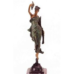 """Woman With Cornucopia"" Bronze Sculpture - Vauthier"