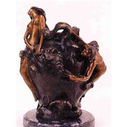 """Nude Boy & Girl On Vase"" Bronze Sculpture - Bofill"