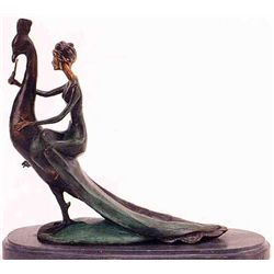 """Woman On Peacock"" Bronze Sculpture - Chiparus"