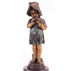"""""""Girl Holding Bird"""" Bronze Sculpture - Fuenze"""