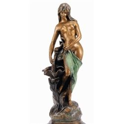 """""""Nude Girl With Fish"""" Bronze Sculpture - Campagne"""