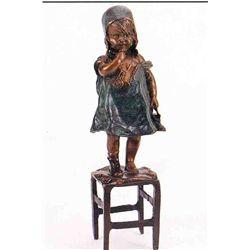 """""""Standing Girl On Chair"""" Bronze Sculpture - Clara"""
